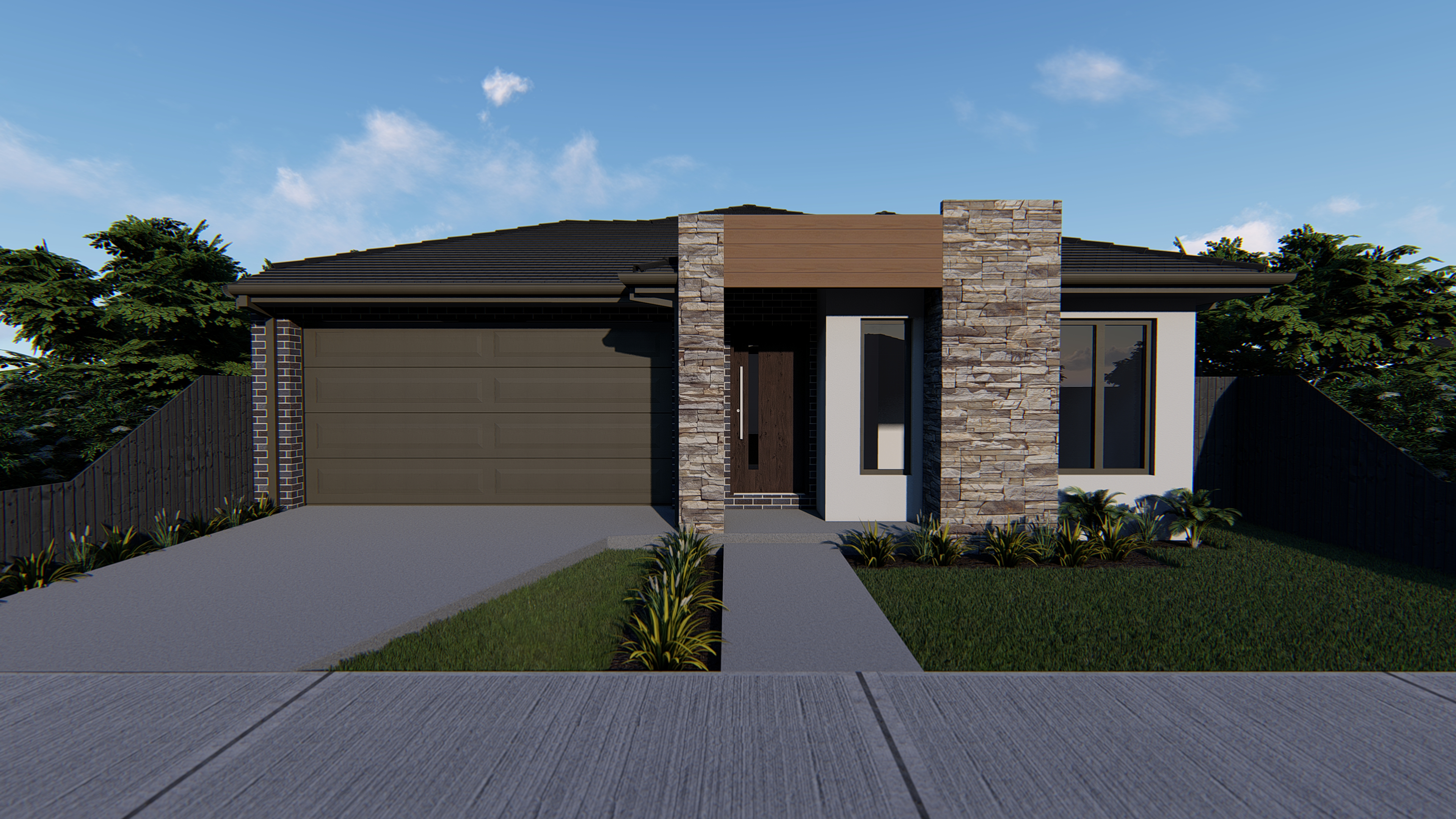 Hawkeye Project New Home Melbourne Oakwood Sandstone with White Render
