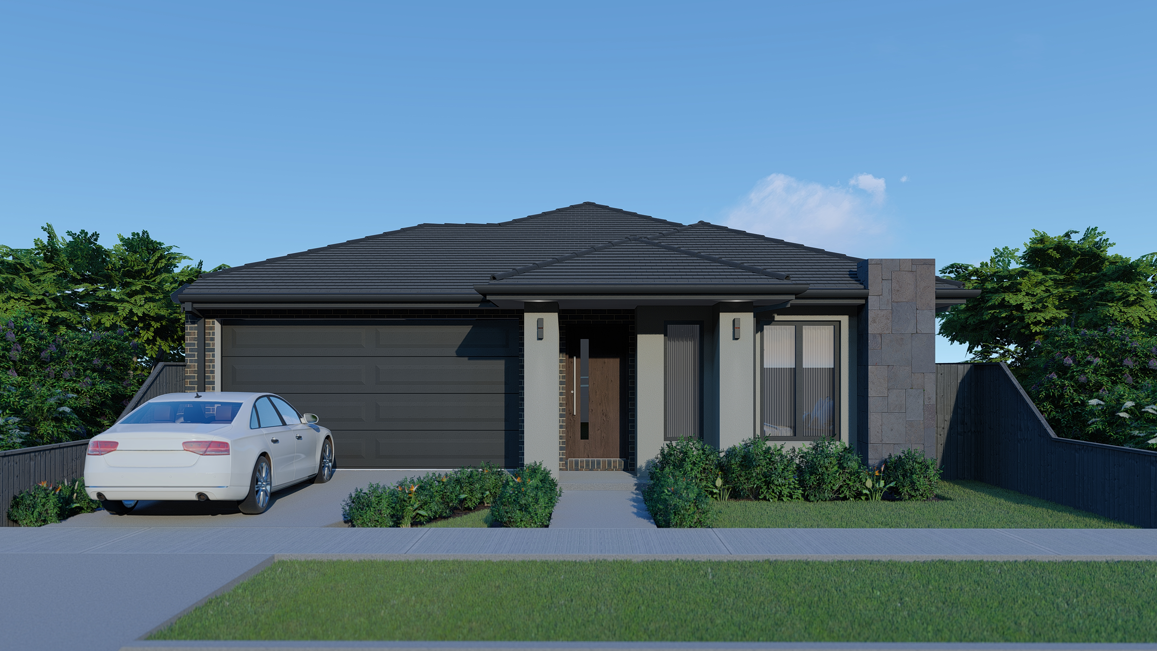 Hawkeye Projects New Home Melbourne Echuca Bluestone Grey Render 23Sq