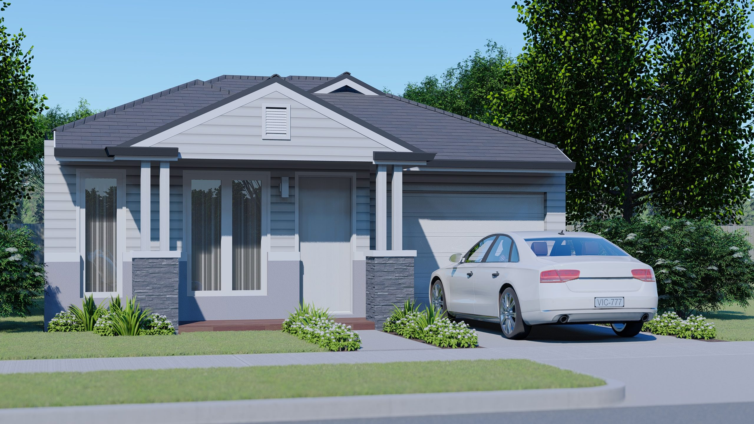 Style 2: 8.5M Width Block with 3 Bedroom Cottage Home