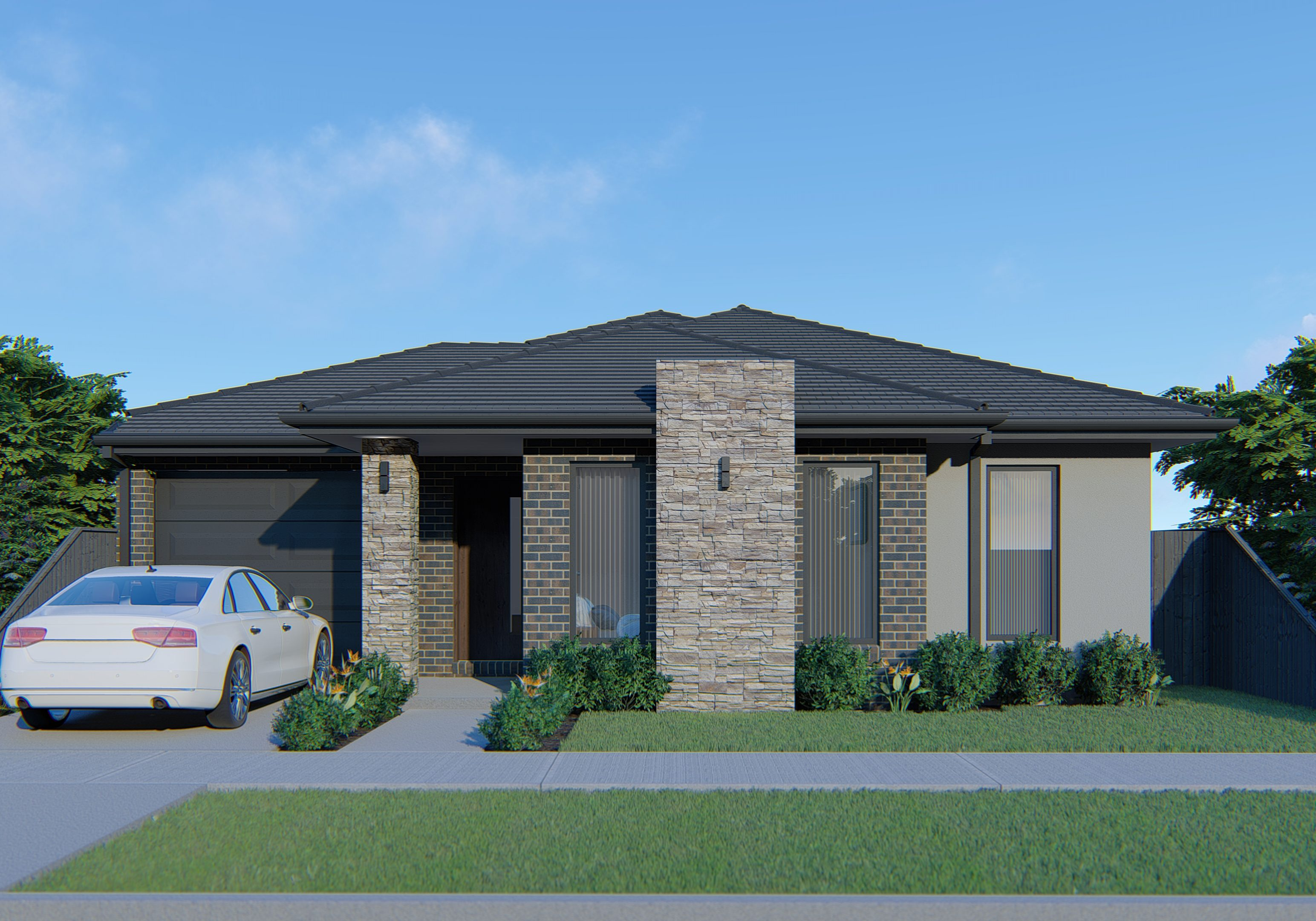 Hawkeye Projects New Homes Melbourne 18Sq Arua Stackstone Feature with white Render